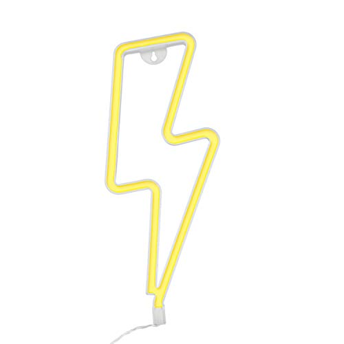 Lighting Bolt (Lightning Bolt Neon Sign, Warm White LED Neon Night Wall Decor Light with Battery/USB Operated for Birthday Party Wedding Bedroom Decorations)