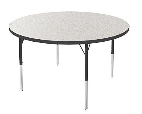 Office Round Activity Table - Marco Group 2200 Series Round Activity Table with Swivel Glides, Gray Glace Top/Black Edge and Black Toddler Legs, 48-Inch