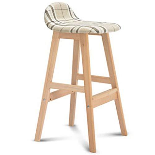 Bar Stool Solid Wood High Stool Modern Minimalist with Back Bar Chair Home Breakfast Bar Cafe Wood Color Tripod Bar Stool Linen Cushion Lattice ()