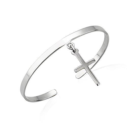 925 Sterling Silver Shiny Polished Slim Flat Band Dangle Christian Cross Charm Cuff Bracelet, 55mm (Dangle Cuff Bracelet)