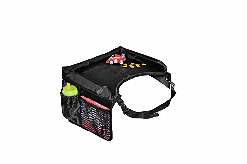 Star Kids Snack & Play Travel Tray - Easy To Clean Nylon With Mesh Pockets, Cup Holder & Reinforced Sides. Keeps Snacks Off The Floor & In The Tray. Great (Play Center Accessories)