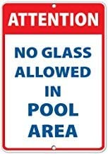 Kysd43Mill Warnschild, Aufschrift Achtung No Glass Allowed in Pool Area, aus Aluminium, für Privateigentum, dekoratives Metallblech