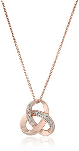 14K Rose Gold over Sterling Silver Diamond Knot Pendant Necklace, 18""