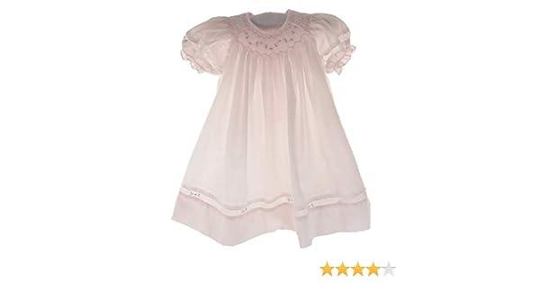 e0f9c0043 Amazon.com: Girls Pink Smocked Dress Set Bonnet Portrait Bishop Day Gown:  Clothing