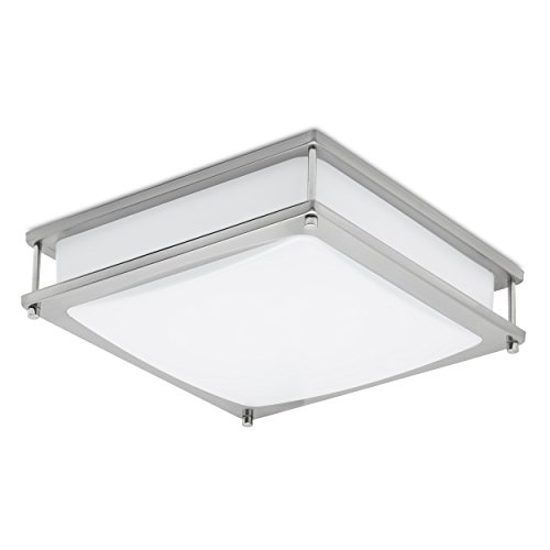 Clarity Energy Efficient 12 inch LED Dimmable Ceiling Light and Fixture Brushed Nickel Finish , Flush Ceiling Mount, 1050 Lumens Uses only 15 Watt 4000K (Natural Light)- UL listed-Energy Star Rated - Bathroom Lighting Fluorescent Lights
