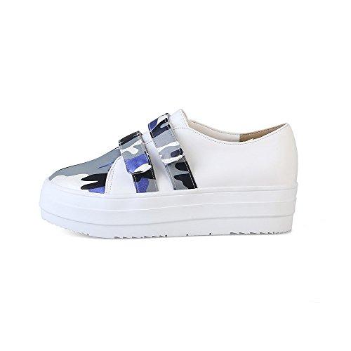 AllhqFashion Damen Rund Zehe PU Leder Gemischte Farbe Haken-und-Loop Pumps Schuhe Blau