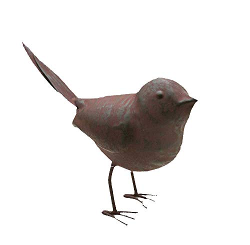 Colonial Tin Works Decorative Small Cute Songbird Song Bird Statue Figurine for Home or Garden with Feet, Metal, Rustic/Farmhouse Cottage, Rust Color, 5.5 L x 2 W x 4 H, 1 Piece