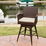 Weather-resistant Braxton PE Wicker Swivel Stool with Arms
