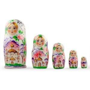 BestPysanky Set of 5 Orthodox Church Wooden Russian Nesting Dolls 7 Inches