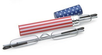 Stripe Matte (Patriot Tube Reader, Stars & Stripes/Matte Silver, +2.50)