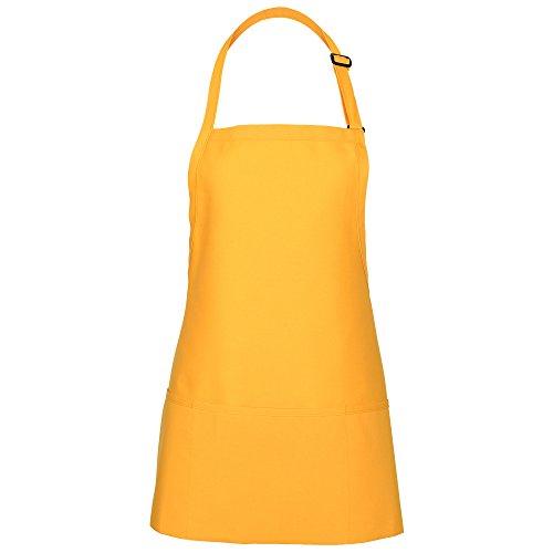 (Fame Adult's 3 Pocket Bib Apron (Yellow-O/S) F10-18156)