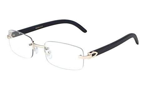 Dapper Rimless Rectangular Metal & Wood Eyeglasses / Clear Lens Sunglasses - Frames (Rose Gold & Black Wood, - Rimless Eyeglass