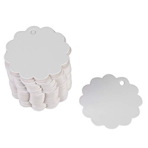 Flower Shape Paper Tags,100PCS Handmade Kraft Paper Gift Tags Hang Label Wedding Favor Gift Tags for Christmas Wedding Birthday Thanksgiving Gift(White)