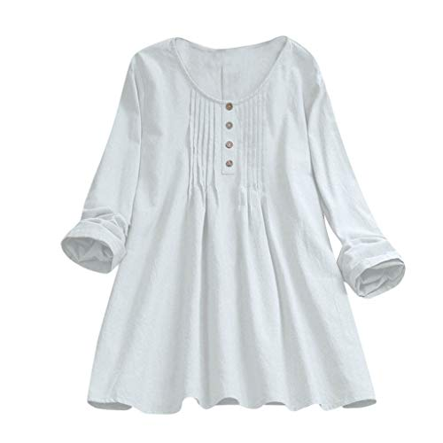POQOQ Tops Women Casual Plus Size Solid Loose Linen Button Tunic Shirt Blouse(White,4XL)]()