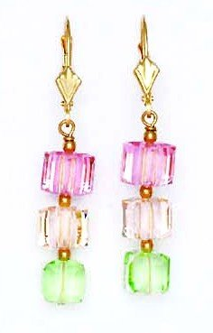 14k Yellow Gold 6 mm Cube Light Pink Cream and Green Crystal Earrings (14k 6 Mm Cube)