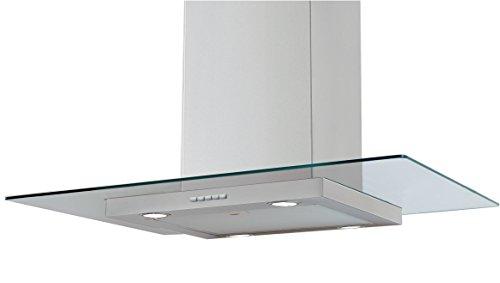 Campana de Cocina IHD Isola Miami de 90 cms en Acero Inoxidable con Cristal Plano y Ducto Extraible; de Diseño Innovador y...
