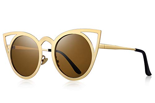 MERRY'S Cat Eye Sunglasses Round Metal Cut-Out Flash Mirror Lens Metal Frame Sun glasses S8064 (Brown, - Festival Metal