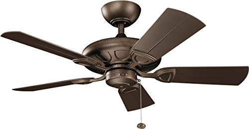 Kichler Lighting 310144WCP Kevlar-42 Ceiling Fan, Brown Blade Finish, 42 Inch, Weathered Copper Powder Coat
