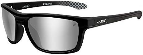Wiley X Joey Logano シグネチャーシリーズ WX Kingpin マットブラックフレーム/偏光グレーシルバーフラッシュレンズ (ANSI Z87.1)