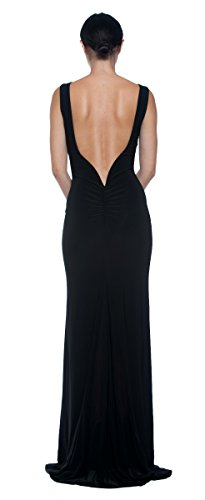 Women's Black Open Low Plunge Back Mermaid Formal Ball Evening Gown Long Dress (Medium)