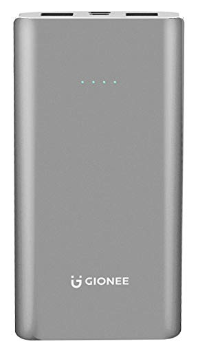 Gionee 10000mAh Li-Polymer Slim Design Power Bank with Power Indicators and 2 Output Ports (Fast Charging, 12W) PB10K2… 2021 July Time taken to charge a 3000mAh phone battery is 1.5 Hrs & can charge 2.2 times and a 4000mAh phone battery takes 2 Hrs & can charge 1.7 times Dual Output Ports,USBA1 output is 5V 2.4A,USBA2 output is 5V  1A,12 Watt Fast Charge Body Material : Metal Frame Item Weight : 240 grams