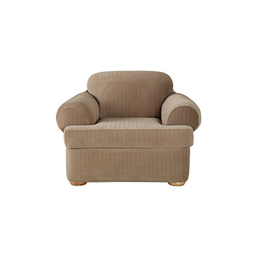 2 Piece Plastic Chair (Sure Fit Stretch Pinstripe 2-Piece - Chair Slipcover  - Taupe (SF37184))