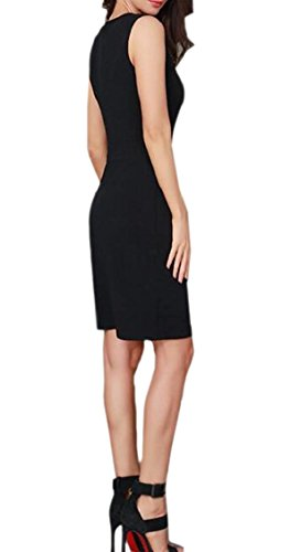Jaycargogo Dress Club Sleeveless Hollow Bodycon Black Women's Patchwork Out FFrzqw