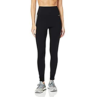 adidas Women's Design 2 Move 3-Stripes High-Rise Long Tights, Black, Small