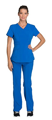 - Cherokee Infinity Women's V-Neck Top with Certainty CK623A & Low Rise Pant 1124A Scrub Set (Antimicrobial) (Royal - Small/Small)