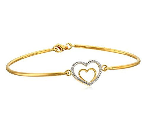 (14k Gold Plated Sterling Silver Hearts Bangle Bracelet #BBCS-1012)