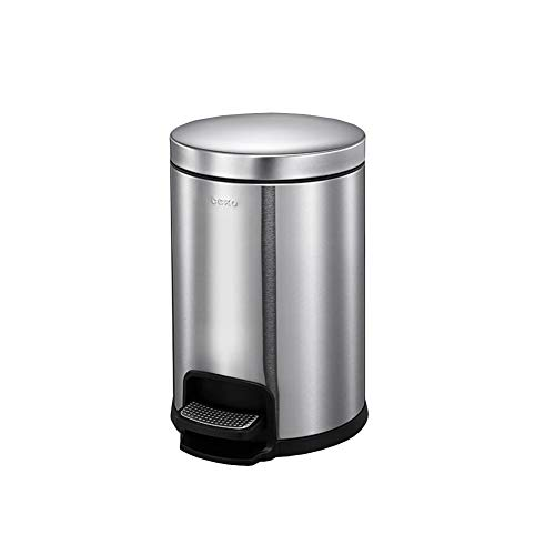 MUMA Trash Can Circle Stainless Steel Mute Pedal Double Barrel Decontamination Easy to Clean Parlor Office (Capacity : 5L, Color : Sand Steel)