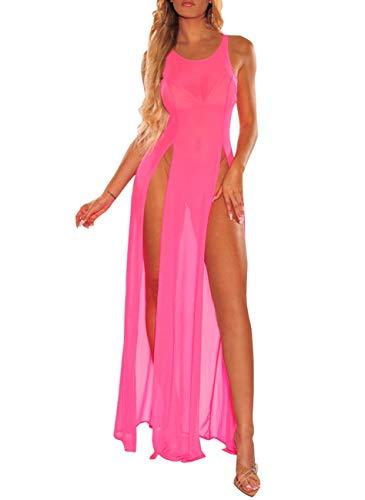 Women's Summer Sheer Cover Ups Sleeveless High Split Long Beach Dress