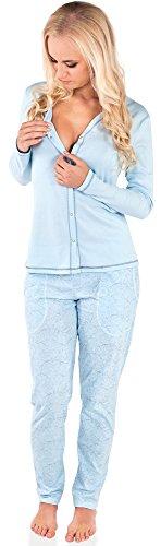Italian-Fashion-IF-Allattamento-Pigiama-per-Donna-Luda-0223-Blu-XL