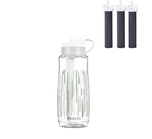 Brita Hard Sided Water Filter Bottle, 34-Ounce, Clear