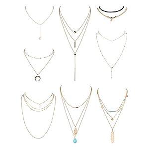 YADOCA 8-13 Pcs Collier Multirang Femme Colliers Pendentif Lune Turquoise Etoile Perle Mode Boho Long Sexy Ensemble…