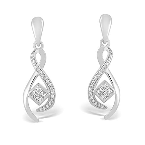 - 925 Sterling Silver 1/4 Carat Round and Princess-Cut (H-I Color, I2 Clarity) Natural Diamond Earrings for Women