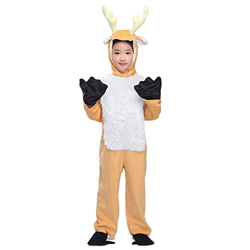 Kids Deer Costume Animals Party Halloween Christmas Reindeer Cosplay Fancy Dress with Antler L -