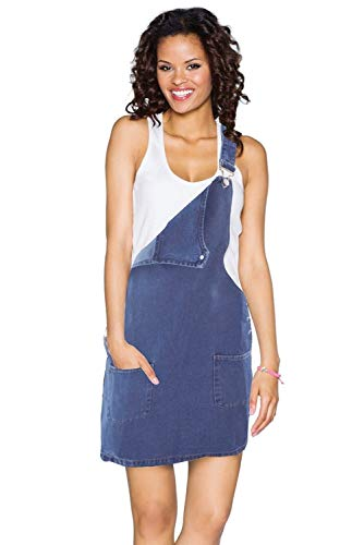 Didhaapin Women's Casual Straps Denim Overall Dress Bib Pinafore with Pocket (M US 8-10)