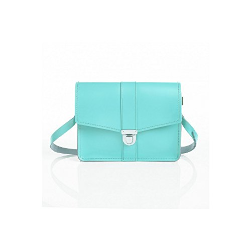 Zatchels - Stanford - Borsa a Tracolla in Pelle Fatta a Mano - Donna Limpet Shell Blue