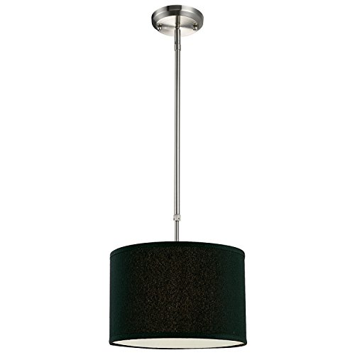 Albion 1 Light Pendant - Z-Lite 171-12B Albion One Light Pendant, Metal Frame, Brushed Nickel Finish and Black Shade of Fabric Material