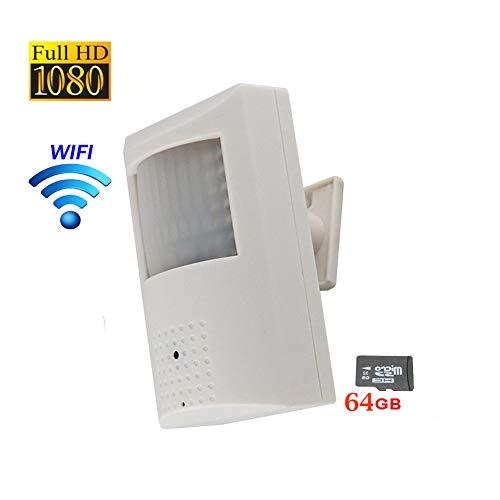 NightKing 1080P 2MP WiFi Wireless IP PIR Security Hidden Spy Camera,2MP Covert CCTV Security IP Camera,Plug&Play, Installed 64GB SD Card,App View