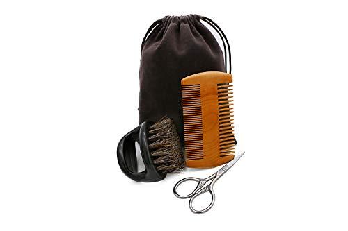 Beard Comb & Beard Brush Kit, 3 in 1, Boar Bristle ring Beard Brush & Moustache Comb & Scissor, Ideal Present For Men
