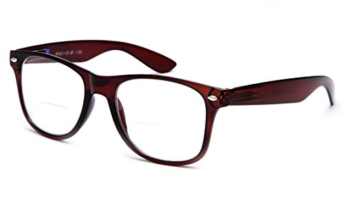 IG Wayfarer Style Comfortable Stylish Simple BiFocal Reading Glasses w/ Spring Temple in Brown / Strength - Bifocal Reading Stylish Glasses