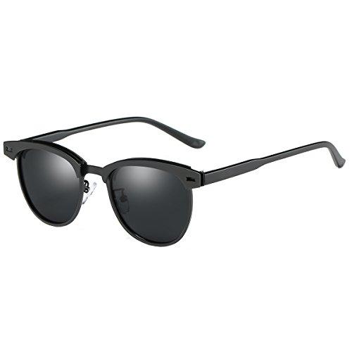 FEIDU Retro Polarized Clubmaster Sunglasses for Men Half Metal Women - Clubmaster Black