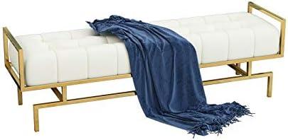 収納ベンチ ゴールド美脚ゴールド仕上げタフト座と布張りの靴ベッドエンドベンチ 柔軟 多用途 (Color : White, Size : 100*40*45CM)