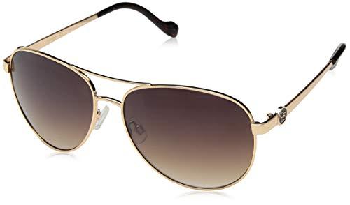 Jessica Simpson Women's J5596 Metal Aviator Sunglasses with Signature JS Enamel Logo Temple & 100% UV Protection, 60 mm