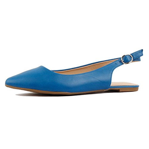 Guilty Heart Womens Pointy Toe Slingback Buckle Comfortable Casual Dressy Flats, Blue Pu, 9 B(M) - Slingback Buckle