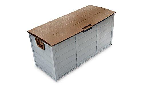 PROGEN Outdoor Wasserdicht Garten Deck aus Kunststoff Behä lter Box Spielzeug Box Chest Schuppen 250 Liter Ltr mit Rä dern