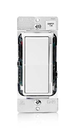 Leviton DSF01-10Z Decora Rocker Slide 1.5A Quiet Fan Speed Control, White - Decora Electronic
