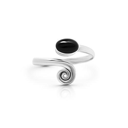 Koral Jewelry 925 Sterling Silver Black Onyx Adjustable Spiral Midi Knuckle/Toe Ring